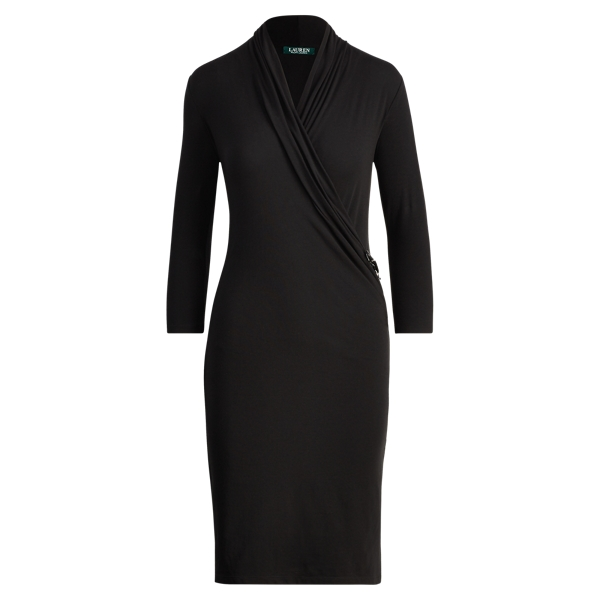Ralph Lauren Stretch Jersey Wrap Dress Polo Black S