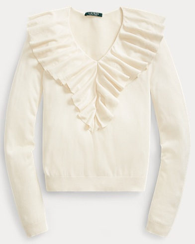 Ruffled-Overlay V-Neck Sweater