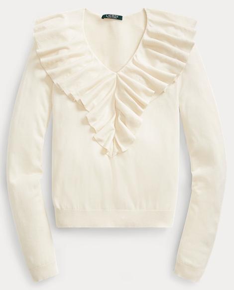 Ruffled-Overlay V-Neck Sweater