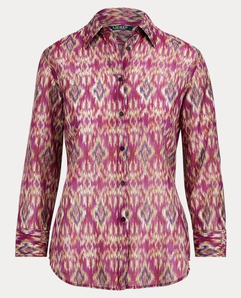 Ikat-Print Voile Shirt