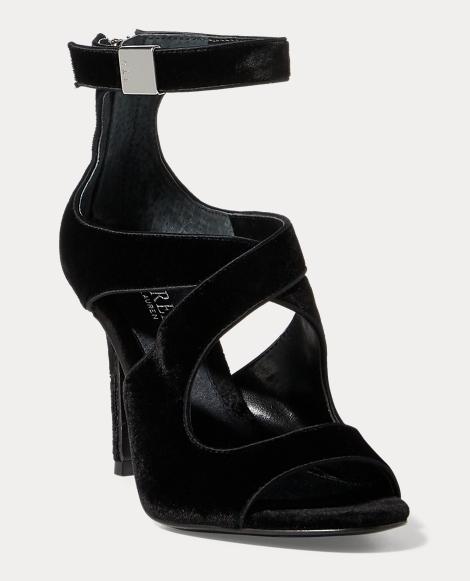 Tyra Velvet Peep-Toe Sandal