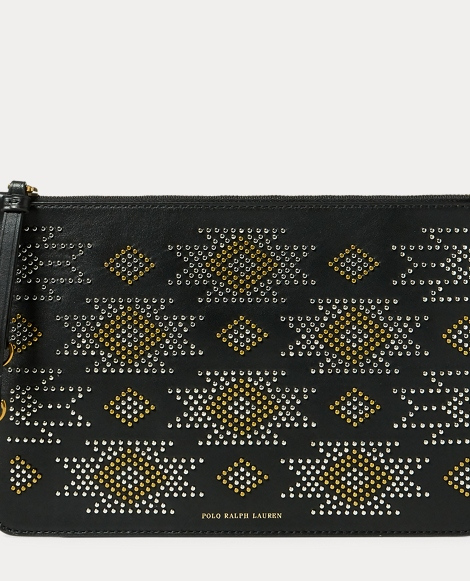 Studded Leather Zip Pouch