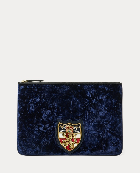 Crushed Velvet Crest Pouch
