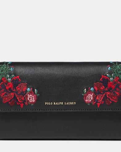 Floral Leather Chain Wallet