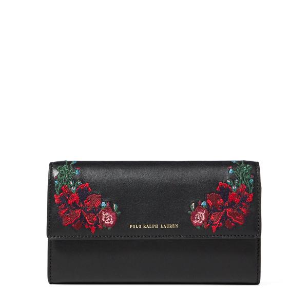 Ralph Lauren Floral Leather Chain Wallet Black One Size