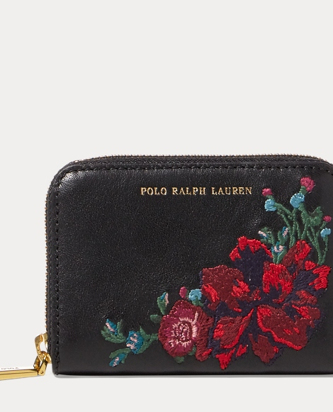 Embroidered Leather Zip Wallet