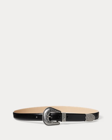 Floral-Engraved Leather Belt. Polo Ralph Lauren