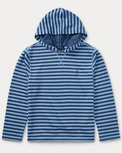 Striped Waffle-Knit Hoodie