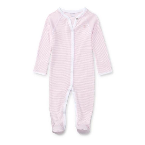 Ralph Lauren Striped Cotton Coverall Pink & White Stripe Newborn