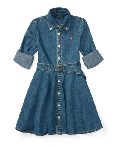 Denim Fit-and-Flare Shirtdress
