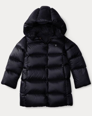 Channel quilted down jacket polo black
