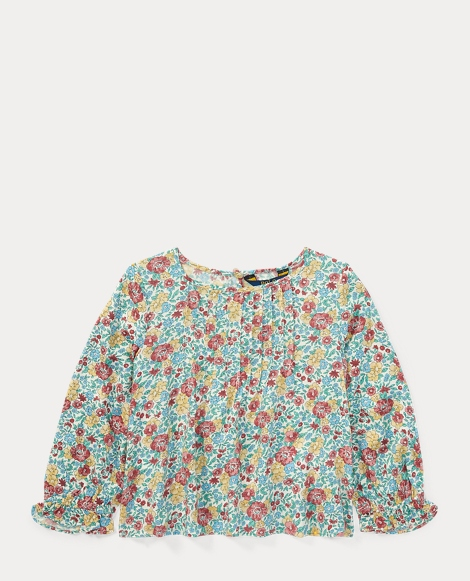 Pintucked Floral Top