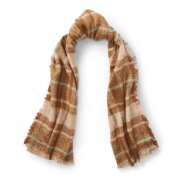 Ralph Lauren Plaid Blanket Scarf Camel One Size