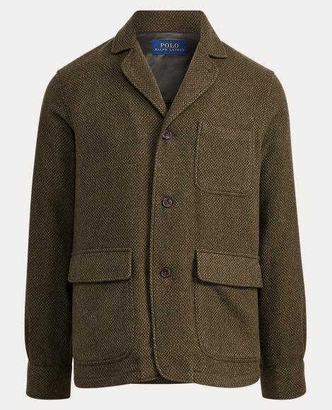 Basket-Weave Wool Shirt Jacket