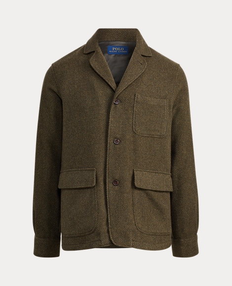 Basket-Weave Wool Shirt Jacket