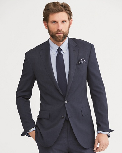 Polo Grid-Patterned Wool Suit