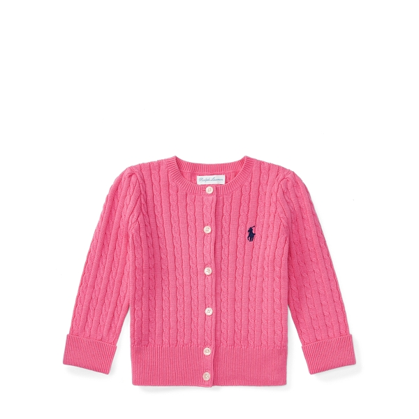 Ralph Lauren Cable-Knit Cotton Cardigan Baja Pink 6M