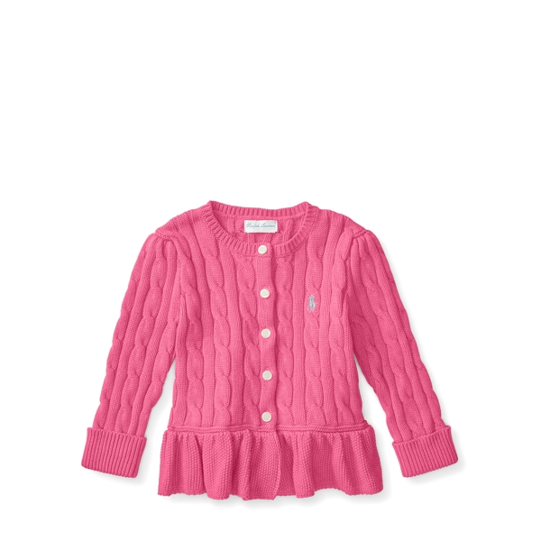 Ralph Lauren Cable Cotton Peplum Cardigan Desert Pink 9M