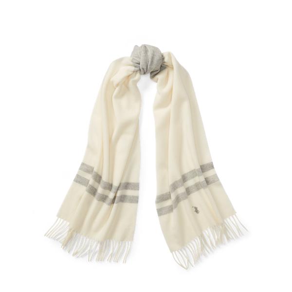 Ralph Lauren Blanket-Stripe Wool Scarf Cream/Lt Vintage Hthr One Size
