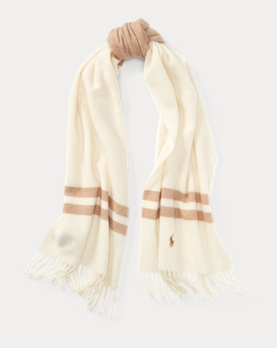 Blanket-Stripe Wool Scarf