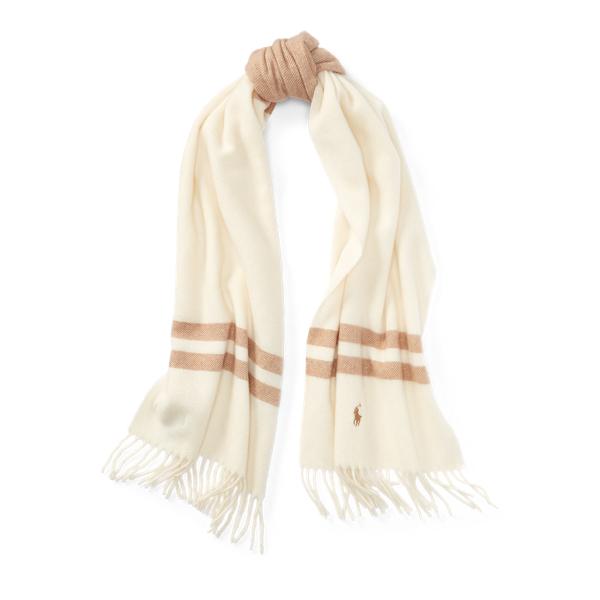 Ralph Lauren Blanket-Stripe Wool Scarf Collection Cream/Camel One Size