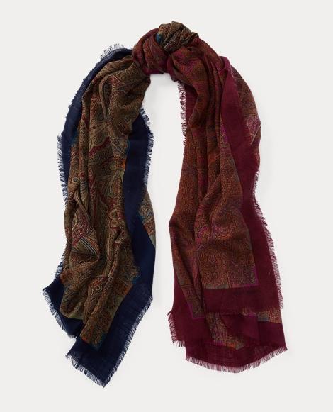 Reversible Paisley Wool Scarf