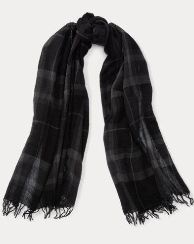 Lightweight Plaid Wool Scarf