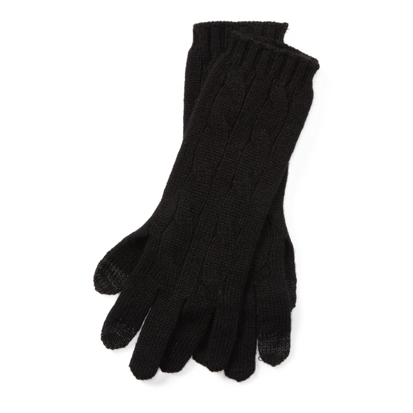 Ralph Lauren Cable-Knit Cashmere Gloves Black One Size