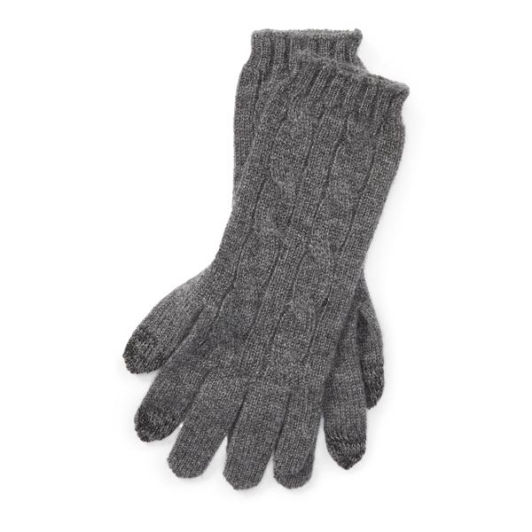 Ralph Lauren Cable-Knit Cashmere Gloves Antique Hthr One Size