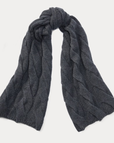 Rope Cable-Knit Wool Scarf