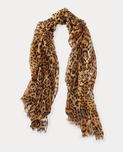 Leopard-Print Wool Scarf