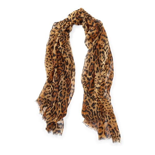 Ralph Lauren Leopard-Print Wool Scarf Leopard One Size