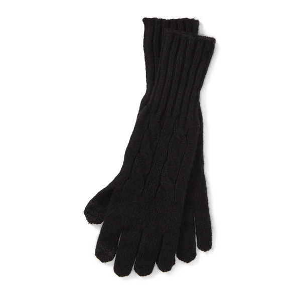 Ralph Lauren Cable Wool-Cashmere Gloves Polo Black One Size