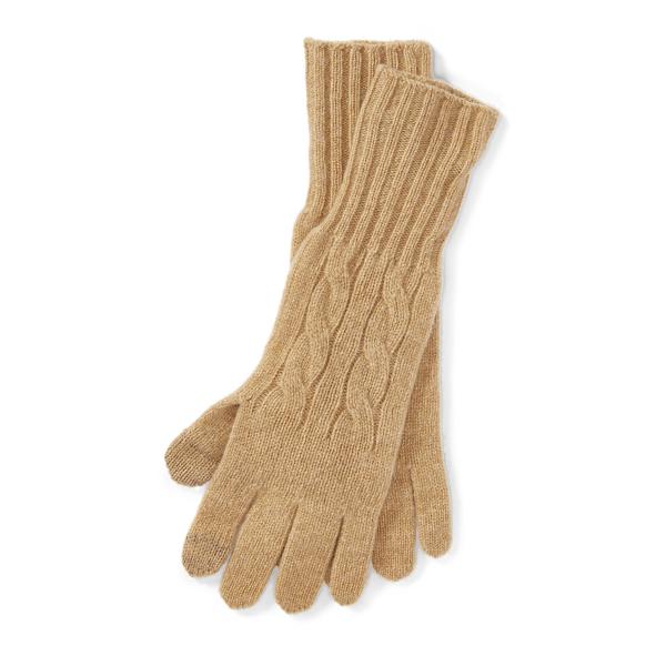 Ralph Lauren Cable Wool-Cashmere Gloves Camel Melange One Size