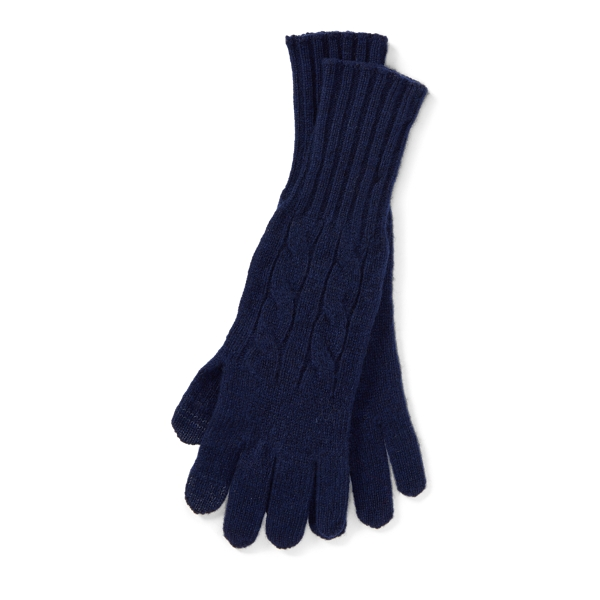 Ralph Lauren Cable Wool-Cashmere Gloves Bright Navy One Size
