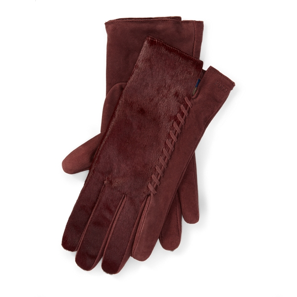Ralph Lauren Whipstitched Haircalf Gloves Fall Burgundy S