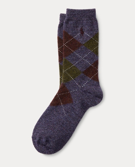 Argyle Wool-Blend Boot Socks