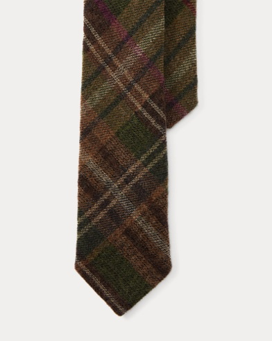 Plaid Wool-Silk Narrow Tie