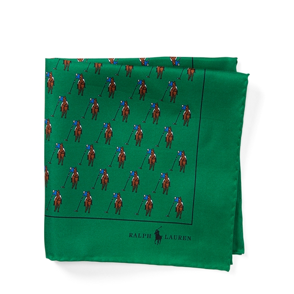Ralph Lauren Polo Player Silk Pocket Square Green One Size