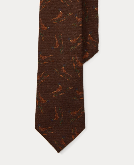 Pheasant-Print Wool Narrow Tie