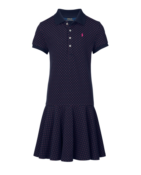 Polka-Dot Stretch Polo Dress