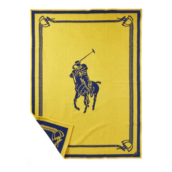 Ralph Lauren Signature Pony Throw Blanket Navy 54