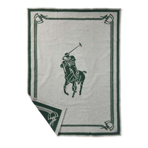 Ralph Lauren Signature Pony Throw Blanket Green 54