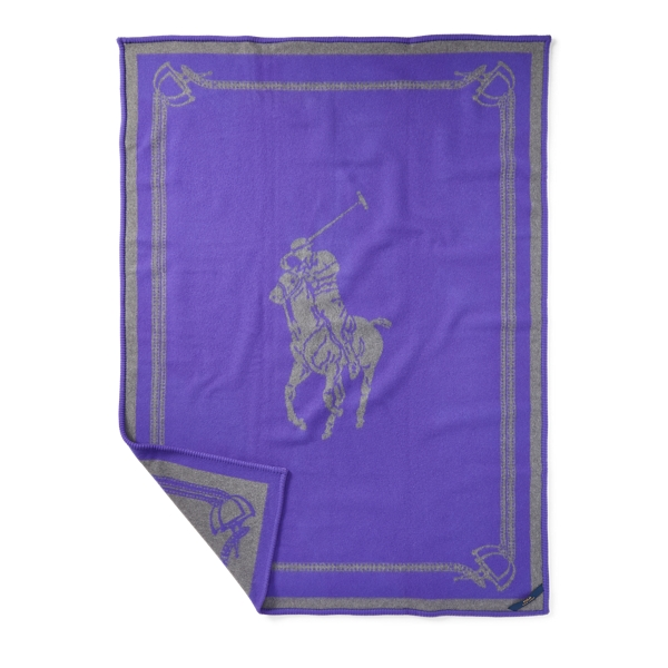 Ralph Lauren Signature Pony Throw Blanket Purple 54