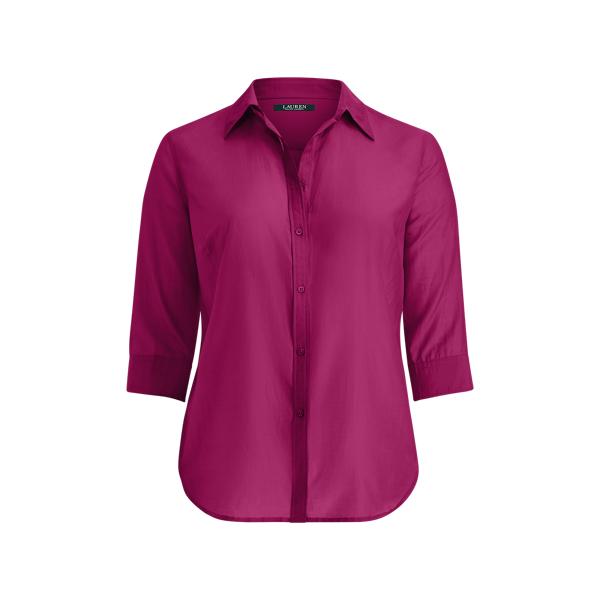 Ralph Lauren Cotton-Silk Button-Down Shirt Berry Jam 1X