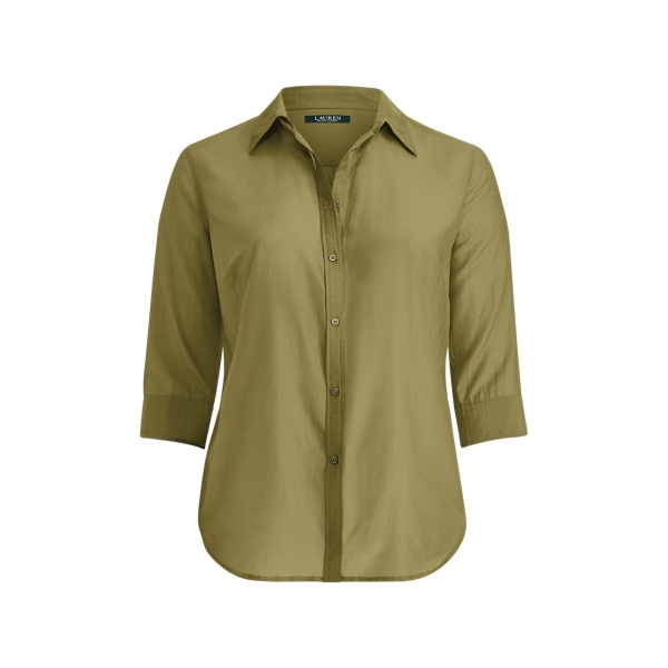 Ralph Lauren Cotton-Silk Button-Down Shirt Autumn Sage 1X