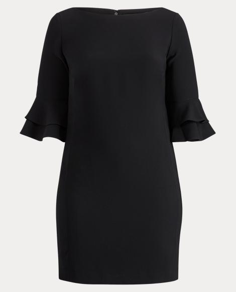 Crepe Flutter-Sleeve Dress