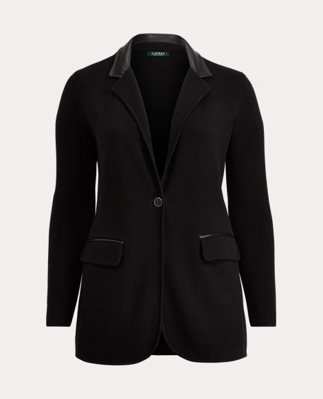 Leather-Trim Cotton Blazer