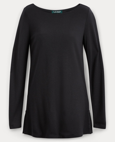 Stretch Jersey Boatneck Top