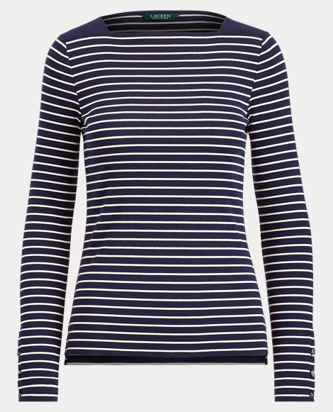 Stripe Cotton Boatneck Top